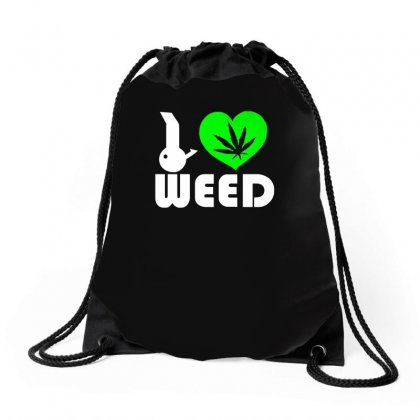 I Love Weed Fun Drawstring Bags Designed By Ismi