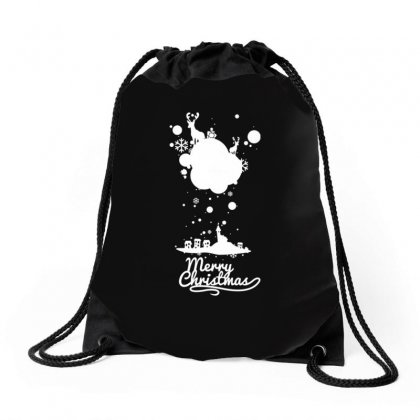 Christmas Icons With Snow Drawstring Bags Designed By Teeshop