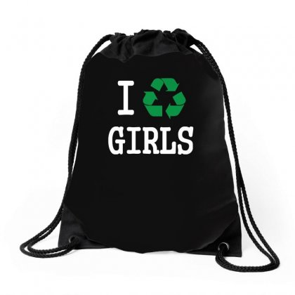 I Recycle Girls Slogan Text Funny Baseball Jersey Drawstring Bags Designed By Ismi