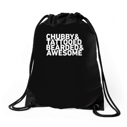 Chubby Tattooed Bearded & Awesome Funny Drawstring Bags Designed By Teeshop