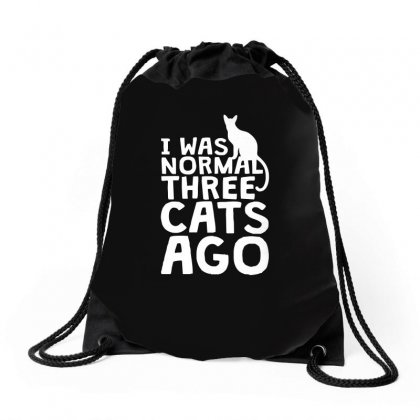 I Was Normal Three Cats Ago Lol Funny Cat Drawstring Bags Designed By Enjang