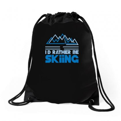 I'd Rather Be Skiing Drawstring Bags Designed By Enjang