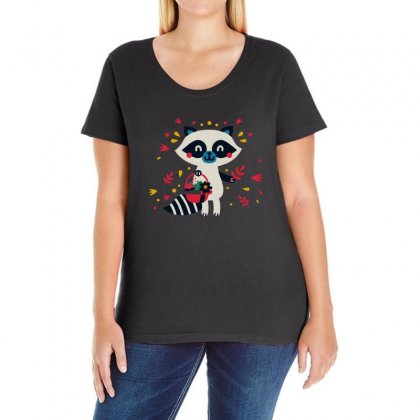 Cute Raccoon Ladies Curvy T-shirt Designed By Bertaria