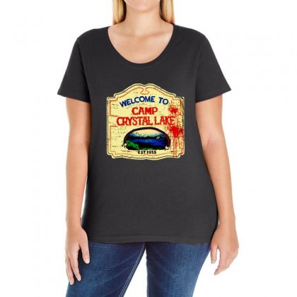 Crystal Lake Sign Ladies Curvy T-shirt Designed By Bertaria