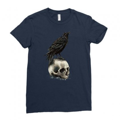 Crow Skull Ladies Fitted T-shirt Designed By Bertaria