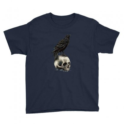 Crow Skull Youth Tee Designed By Bertaria