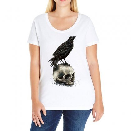 Crow Skull Ladies Curvy T-shirt Designed By Bertaria