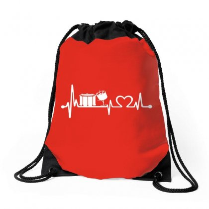 Drums Heartbeat   Funny Drummer Drawstring Bags Designed By Michelziud