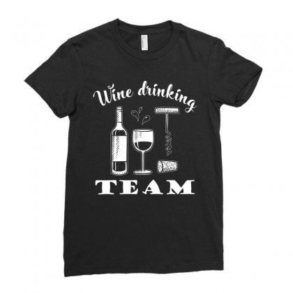 Wine Drinkking Team T Shirt Ladies Fitted T-shirt Designed By Hung