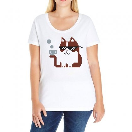 8 Bit Cat Ladies Curvy T-shirt Designed By Bertaria