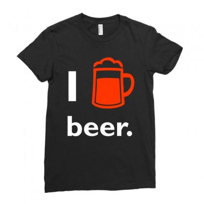I Love Beer T Shirt Ladies Fitted T-shirt Designed By Hung