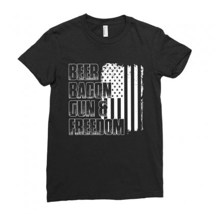 Beer Bacon Gun   Freedom T Shirt Ladies Fitted T-shirt Designed By Hung