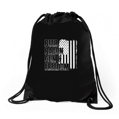 Beer Bacon Gun   Freedom T Shirt Drawstring Bags Designed By Hung