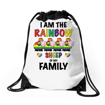 Funny Lgbt Shirt   Rainbow Sheep Of The Family Drawstring Bags Designed By Omer Acar