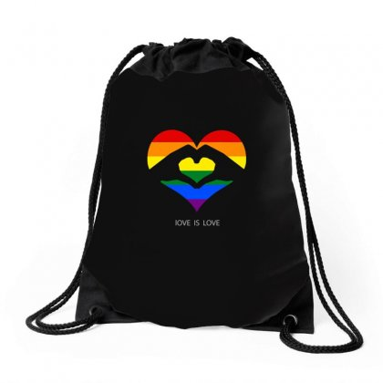 Love Is Love Lgbt Rainbow Heart Drawstring Bags Designed By Omer Acar