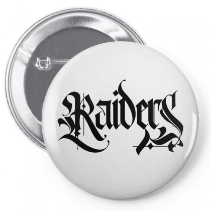 Raiders Blackletter License Plate Pin-back Button Designed By Tiococacola