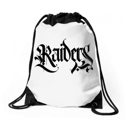 Raiders Blackletter License Plate Drawstring Bags Designed By Tiococacola