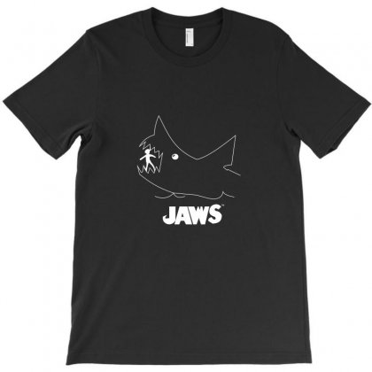Jaws Chalk Board Movie Licensed Cotton Blend Adult T-shirt Designed By Funtee