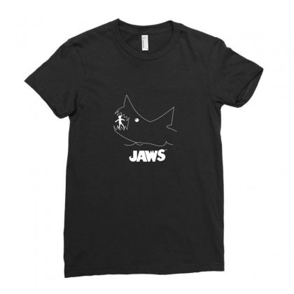 Jaws Chalk Board Movie Licensed Cotton Blend Adult Ladies Fitted T-shirt Designed By Funtee