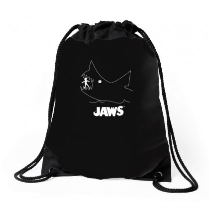 Jaws Chalk Board Movie Licensed Cotton Blend Adult Drawstring Bags Designed By Funtee