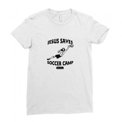 Jesus Saves Soccer Goalie Funny Ladies Fitted T-shirt Designed By Funtee