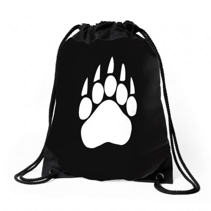 Large Bear Paw Print Crew Neck Long Sleeve Drawstring Bags Designed By Funtee