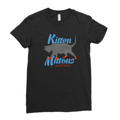 Kitten Mittons Ladies Fitted T-shirt Designed By Allison Serenity