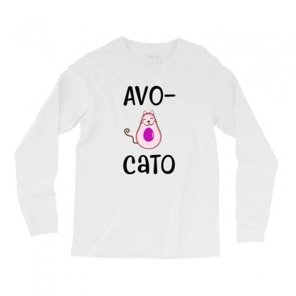 Avocato Cat Avocado Long Sleeve Shirts Designed By Alan