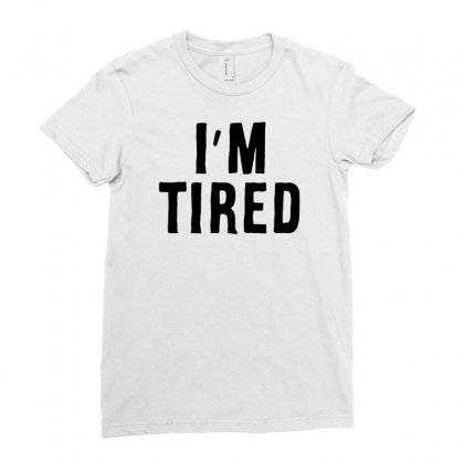 I'm Tired Black Ladies Fitted T-shirt Designed By Allison Serenity