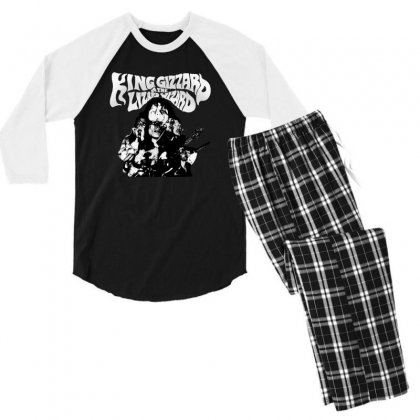 The King Gizzard Men's 3/4 Sleeve Pajama Set Designed By Allison Serenity