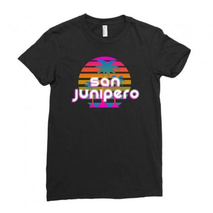 San Junipero Ladies Fitted T-shirt Designed By Allison Serenity