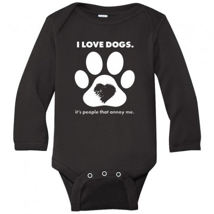Love Dogs Hate People Long Sleeve Baby Bodysuit Designed By Alan