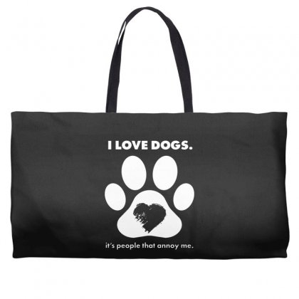 Love Dogs Hate People Weekender Totes Designed By Alan