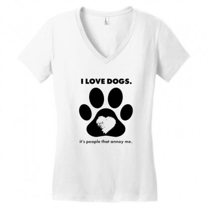 Love Dogs Hate People Women's V-neck T-shirt Designed By Alan
