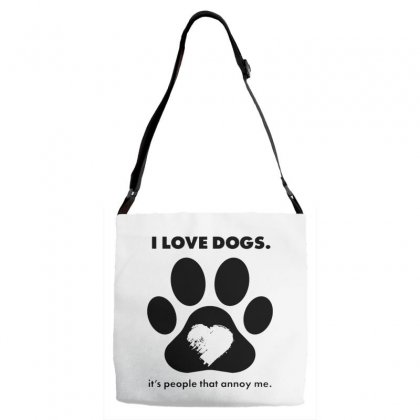 Love Dogs Hate People Adjustable Strap Totes Designed By Alan