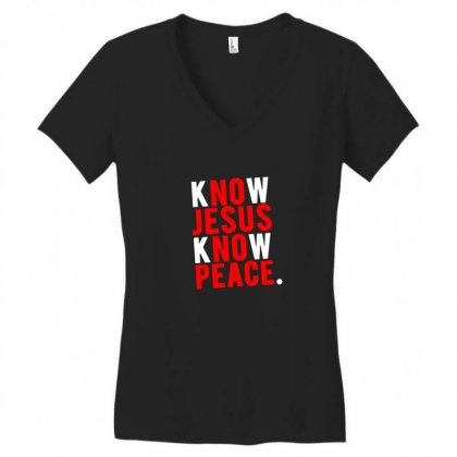 Know Jesus Know Peace Merch Women's V-neck T-shirt Designed By Willo