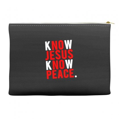 Know Jesus Know Peace Merch Accessory Pouches Designed By Willo