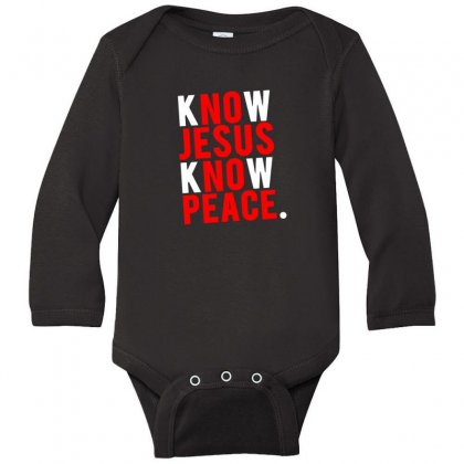 Know Jesus Know Peace Merch Long Sleeve Baby Bodysuit Designed By Willo