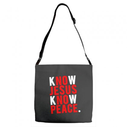 Know Jesus Know Peace Merch Adjustable Strap Totes Designed By Willo