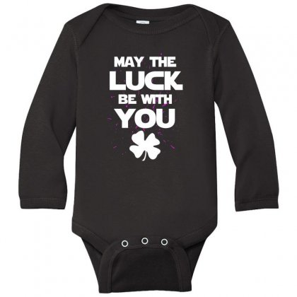 May The Luck Be With You Irish Parody Long Sleeve Baby Bodysuit Designed By Alan