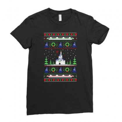 Magical Kingdom Christmas Ladies Fitted T-shirt Designed By Allison Serenity