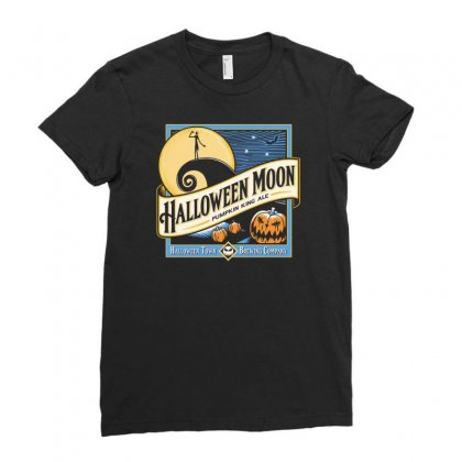 Halloween Moon Ladies Fitted T-shirt Designed By Allison Serenity