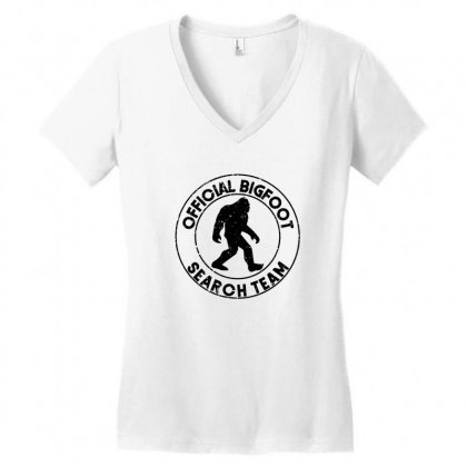 Official Bigfoot Search Team Women's V-neck T-shirt Designed By Alan