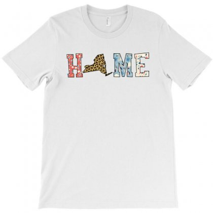Home State New York Map With Floral Pattern And Leopard Texture T-shirt Designed By Artees Artwork