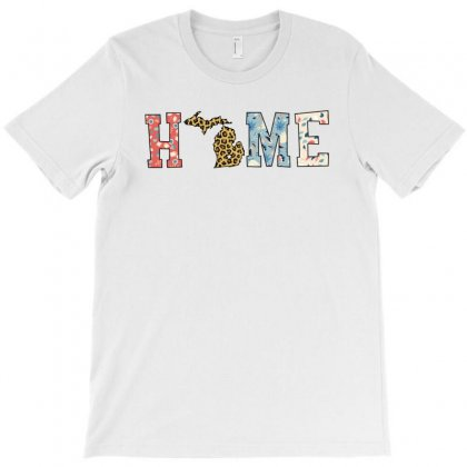 Home State Michigan Map With Floral Pattern And Leopard Texture T-shirt Designed By Artees Artwork