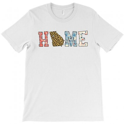 Home State Georgia Map With Floral Pattern And Leopard Texture T-shirt Designed By Artees Artwork