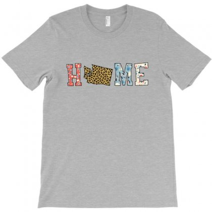 Home State Washington Map With Floral Pattern And Leopard Texture T-shirt Designed By Artees Artwork