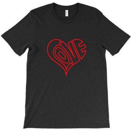 Love Heart Outline Valentine's Day T-shirt Designed By Funtee
