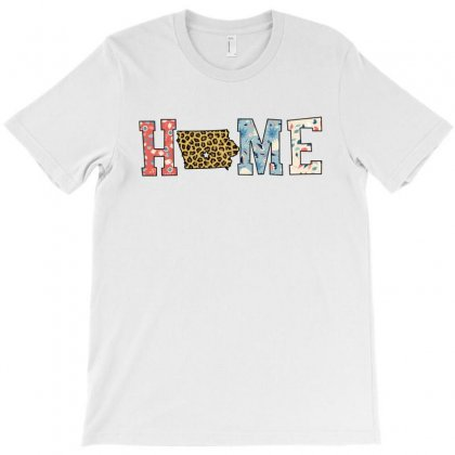 Home State Iowa Map With Floral Pattern And Leopard Texture T-shirt Designed By Artees Artwork