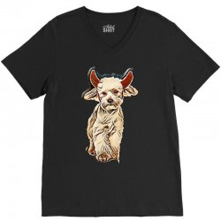 funny bichon dressed as devil for halloween stepping on white backgrou V-Neck Tee | Artistshot